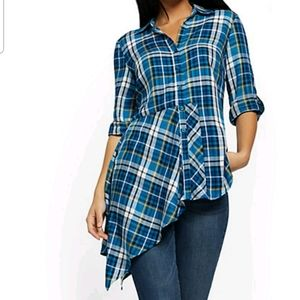 Plaid Assymetrical-Hem Tunic Shirt